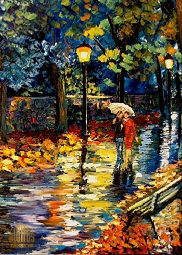 YARY DLUHOS Night Lights Rain Park Umbrellas Walk Ltd Edition ACEO Print Art