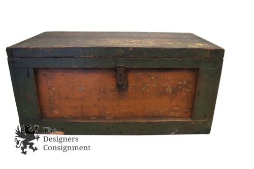 Vintage Pine Tool Box Green Storage Chest Container Rustic Arts + Crafts Machine