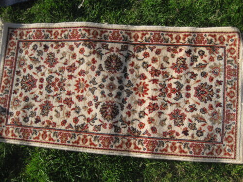 """VINTAGE MIRAZ HANDMADE PURE WOSTED WOOL RUNNER 46""""X23.5"""" MADE IN BELGIUM"""