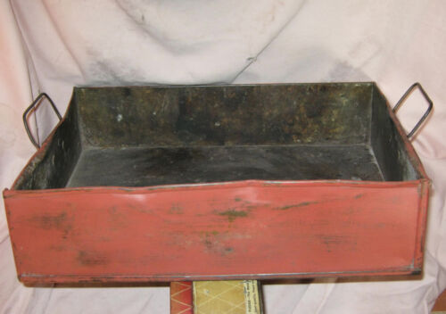 Antique VERY OLD 1800s FARM FEED PAN Tin w HAND FORGED HANDLES Paint BITTERSWEET