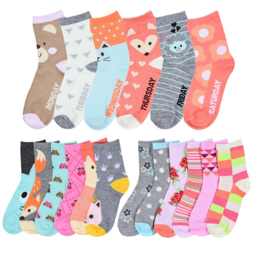 6 Pairs Girls Socks Toddler Shoe Size 2T 3T Kids Baby Nwt Fashion Assorted Color