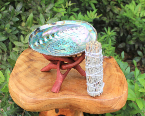 """Abalone Shell, 6"""" Tripod Stand and White Sage Smudge Stick: House Cleansing Kit"""