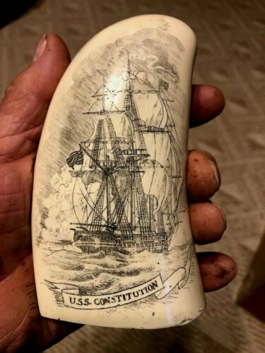 """SCRIMSHAW REPLICA SPERM WHALE TOOTH """" OLD IRONSIDES"""" 7 """" USS CONSTITUTION"""