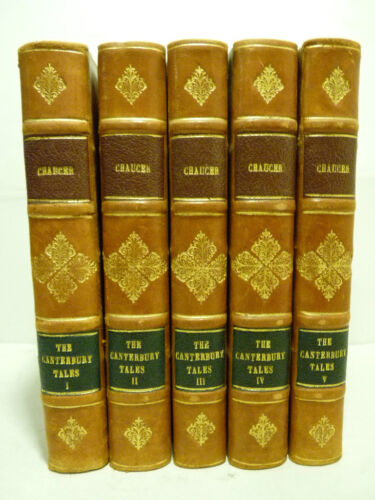 CHAUCER G. : CANTERBURY TALES by TYRWHITT 1822 5 voll. classici Inghilterra UK