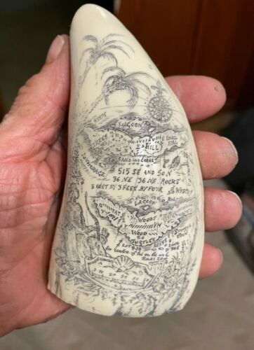 "Scrimshaw Sperm whale tooth resin REPRODUCTION "" PIRATE TREASURE MAP"" 6"" long"