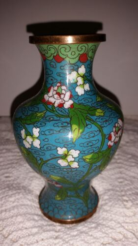 """Chinese: Cloisonne 5"""" X 3.25"""" ANTIQUE VASE in blue  150601002"""