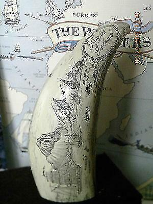 """Scrimshaw Sperm whale tooth resin REPRODUCTION """" FOGOS ISLAND"""" 6&1/2""""  long"""