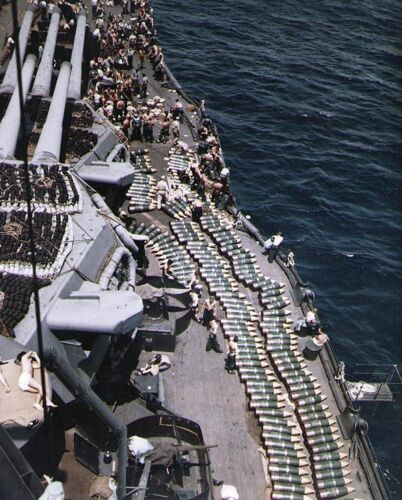 COLOR WWII Photo USS New Mexico BB-40 Ammo on Deck US Navy WW2  / 7080  NEWUnited States - 156437