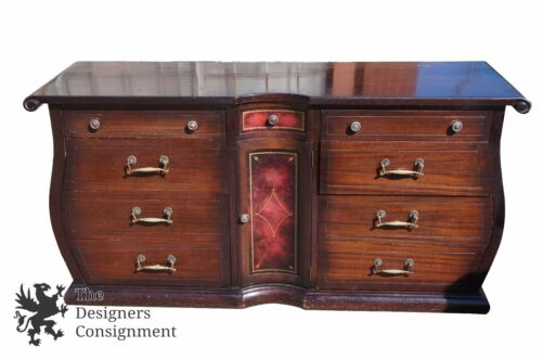 Mid Century Mahogany Double Dresser Chest Cello Front Tooled Leather Accents