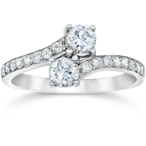 SI1/G Forever Us Two Stone Round Diamond 1.00 Ct Solitaire Ring 14k White Gold