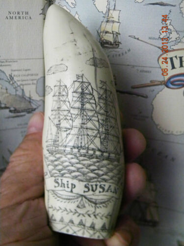 """Scrimshaw Sperm whale tooth resin REPRODUCTION """" SUSAN"""" 6 inches long"""