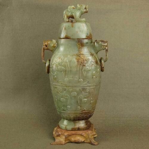 """8.3""""CARVED DRAGON EAR WITH RING DECORATION CHINESE ANTIQUE JADE ANIMAL LID VASE"""