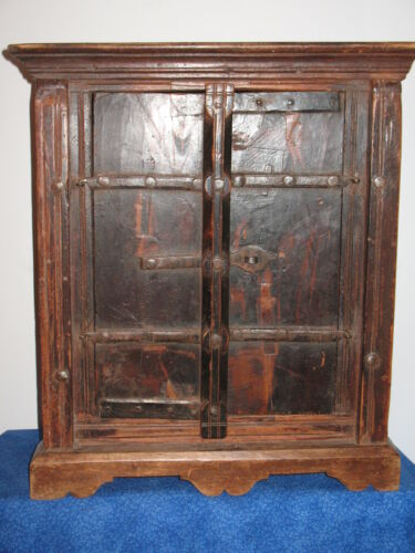 Old Antique English Wood Wooden Corner Cabinet Forged Iron Hinges Locking Hasp