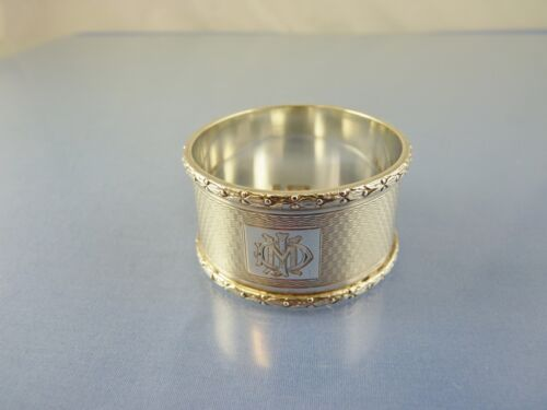 "ART DECO DESIGNED RIM STERLING NAPKIN RING BY WN LTD BIRMINGHAM 1936 ""MI"" Crest"