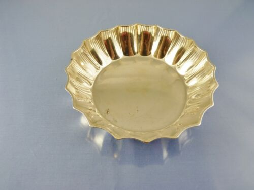 "FLUTED ROLLED RIM ROUND 5"" HEAVY STERLING BOWL BY AC LONDON 1903"