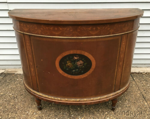 """Antique Inlayed Server Hand Painted French Style 42"""" Cabinet TV Stand"""