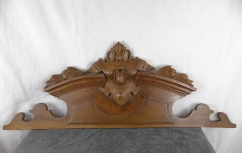 """33"" Antique French Carved Wood Architectural Pediment Panel Solid Oak"
