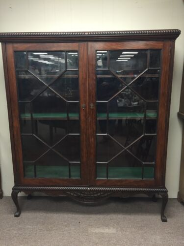 GORGEOUS MAHOGANY & PAINT DECORATED ENGLISH CHIPPENDALE STYLE BOOKCASE ca 1920