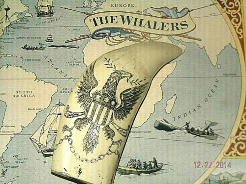 """Scrimshaw  whale tooth RESIN REPRODUCTION """"FREEDOM AND LIBERTY"""" 7"""" on curve"""