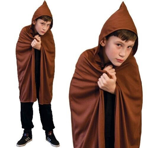 Childs Fancy Dress Hooded Cape Brown Kids Childs Book Day Cloak With Hood