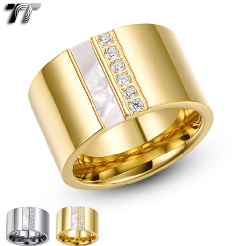 Luxury TT 14K Gold GP/Silver S.Steel Thick Band Ring Mother Pearl (R349) NEW