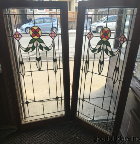 "Pair of 1920s Chicago Bungalow Stained Leaded Glass Windows / Doors 45"" by 22"""