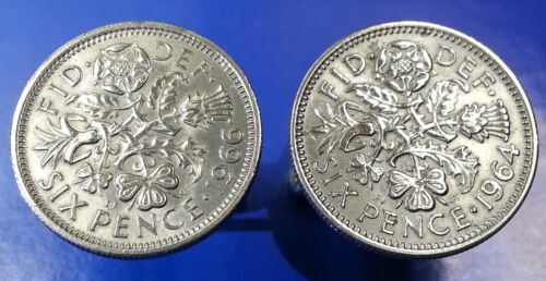 Vintage Flora Leek Rose Thistle & Shamrock British Sixpence Coin Cufflinks + Box