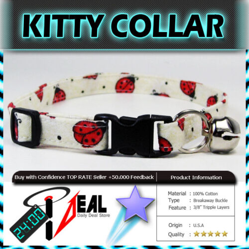 Safety  CAT KITTEN  Breakaway Collar ~ White Ladies Bugs ~