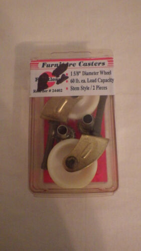 """Faultless Light Duty Furniture Casters Set of 2 1 5/8"""" New White Gold"""