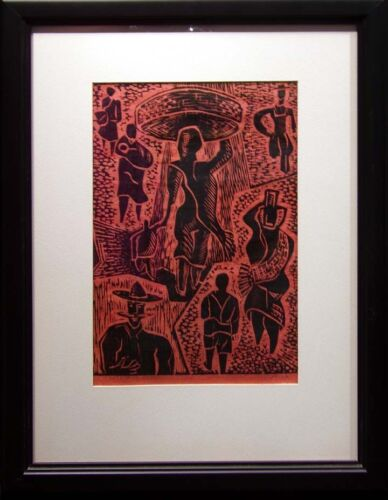 "Taus ""People in Mexico"" Original Linocut framed Hand Signed Art Make an Offer"