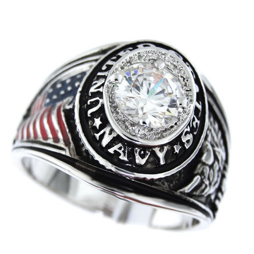 Mens USA Flag Navy Military Silver Rhodium Plated Ring Size 9 3/4Other Militaria - 135
