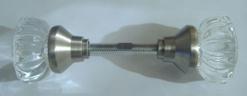 GLASS DOOR KNOBS WITH A SATIN NICKEL FINISH BASE VINTAGE STYLE