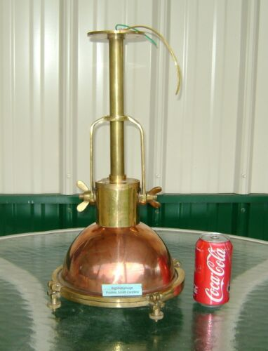 VINTAGE COPPER AND BRASS HANGING PENDANT SHIP LIGHT