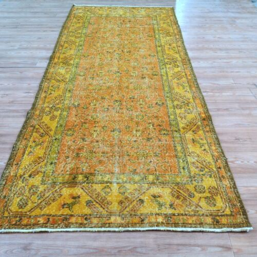 "9' 11""x3'9""  Vintage green orange yellow runner overdyed rug carpet  teppich"