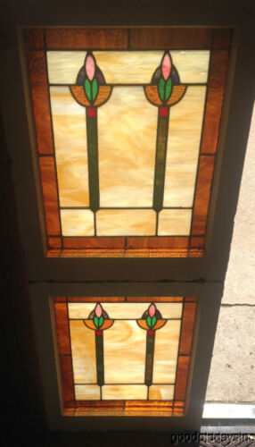 "Wonderful Pair of Stained Leaded Glass Windows Circa 1915 Arts & Crafts 25"" 20"""