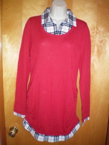 NWT NEW womens size M red black white OH BABY MOTHERHOOD l/s tunic sweater 2-fer