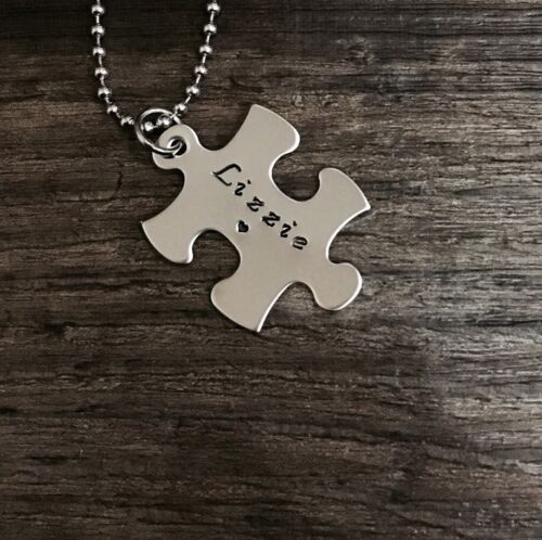 1x personalised hand stamped stainless steel Puzzle Piece Pendant Father's Day