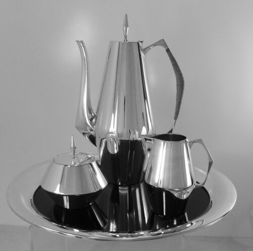 DIAMOND by REED & BARTON  Sterling Silver COFFEE SET WITH LUCITE TRAY. 1958