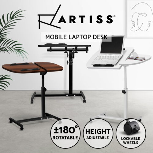 Mobile Laptop Desk Computer Table Stand Adjustable Bed Bedside Portable Study <br/> 360°Rotatable / Adjustable Height / Lockable Wheels