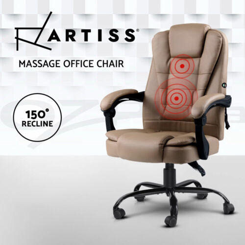 Artiss Massage Office Chair PU Leather Recliner Computer Gaming Chairs Espresso <br/> 150° Back Recline / USB Connection / 3-Year Warranty