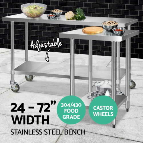 Cefito 304/430 Stainless Steel Kitchen Benches Work Bench Food Prep Table Wheels <br/> ✔304/430 Food Grade✔7 Models✔14 Choices✔Top Seller