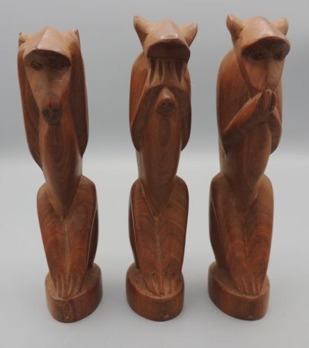 3 Mid Century Modern Monkey Figurines Hear See Speak No Evil