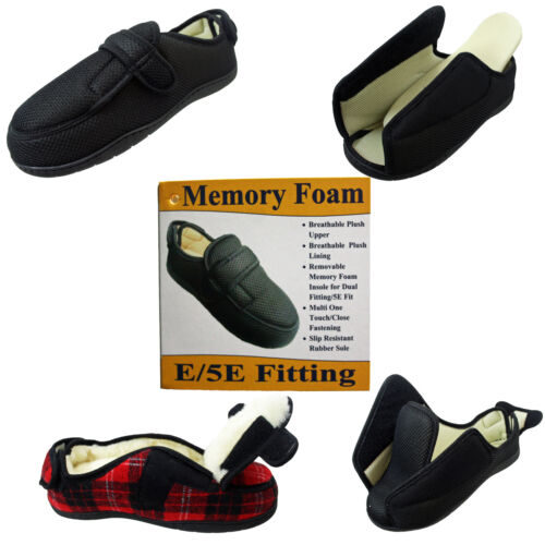 MENS LADIES WIDE FITTING TOUCH FASTENING EASY CLOSE SLIPPERS