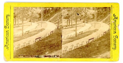 Saratoga Springs NY -VIEW AT CONGRESS PARK- 1870s Stereoview