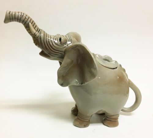 NEW JAMESON BLUE SKY GRAY ELEPHANT CERAMIC DECORATIVE TEAPOT,TEA,COFFEE POT
