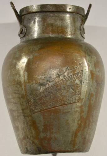 Early Antique Asian Copper & Tin Bean Pot Hand Hammered Engraved Urn Vessel