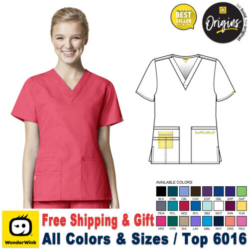 WonderWink Scrubs ORIGINS Women's Medical Bravo Solid V-Neck Top(XXS-5X)_6016