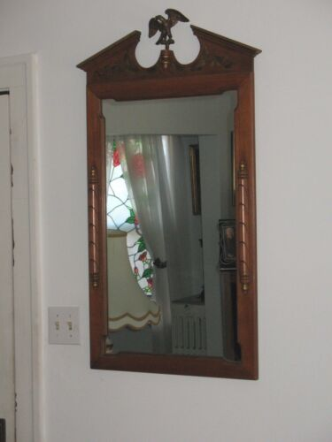 Vintage Original Tell City Wall Mirror Federal Style Wood Frame Perched Eagle