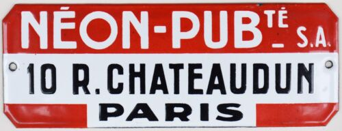 Old French enamel steel shop advertising sign neon lights Paris centre 1970s