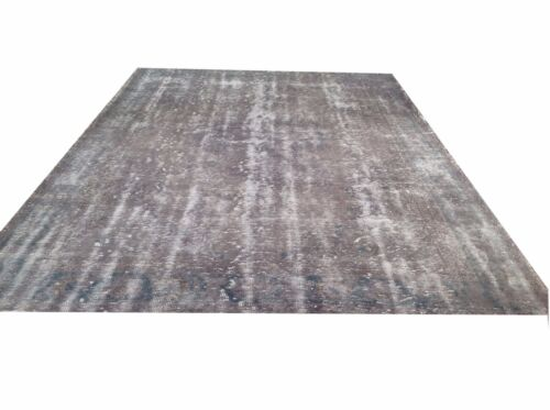 "12'4"" x 7'3"" Vintage OUSHAK gray decorative area  Overdyed destressed rug carpet"